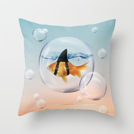 Shark Fin Goldfish in a Bubble Throw Pillow