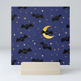 Halloween Bats and Stars Pattern in Dark Blue Mini Art Print