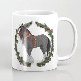 Black Draft Horse in Merry Wreath Coffee Mug
