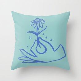 Springtime Magicx Blue Throw Pillow