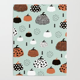 Inky Texture Pumpkins halloween illustration pattern design mint orange Poster