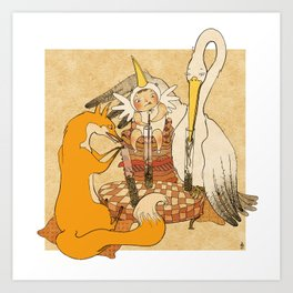 The fox and the stork Art Print