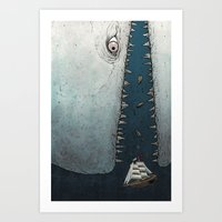 moby dick Art Prints featuring Moby Dick by Diane Leonard