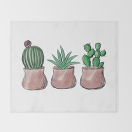 Potted Succulents Throw Blanket