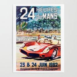 Le Mans 1962 vintage poster, Le Mans t-shirt, Le Mans poster Poster