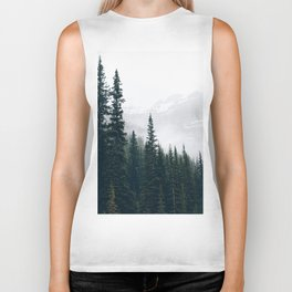 Evergreens in the fog Biker Tank