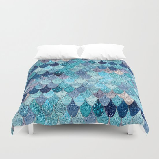 Dark Teal summer mermaid dark teal duvet covermonika strigel | society6