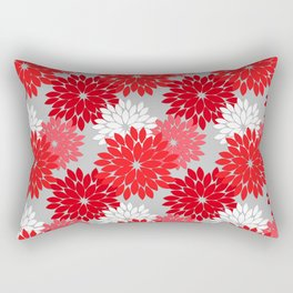 Modern Floral Kimono Print, Coral Red and Gray Rectangular Pillow