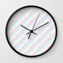 Springtime Butterfly Swirls Wall Clock