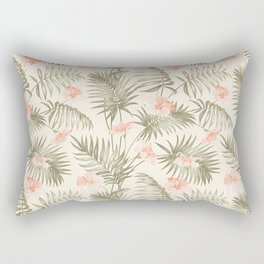 Pastel green blush coral vector tropical floral pattern Rectangular Pillow