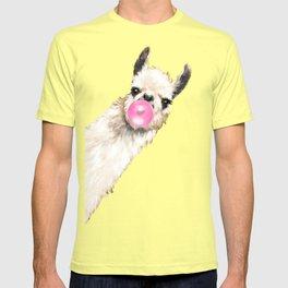 Bubble Gum Sneaky Llama in Yellow T-shirt