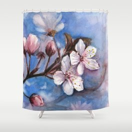 Cherry Blossoms Watercolor Spring Flowers Shower Curtain