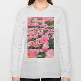 Blue forget-me-nots with pink tulips mix Long Sleeve T-shirt