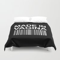 onesie Duvet Covers featuring MADE IN VAGINA BABY FUNNY BARCODE (Black & White) by CreativeAngel