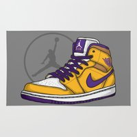 lakers Area & Throw Rugs featuring Jordan 1 mid (LA Lakers) by Pancho the Macho