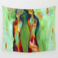 "flora bowley Wall Tapestries featuring ""Two Flowers"" Original Painting by Flora Bowley by Flora Bowley"