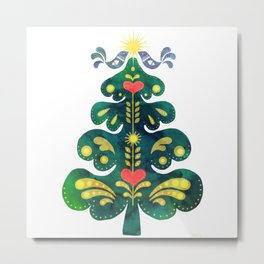 Traditional Scandinavian Folk Art Tree Metal Print