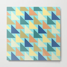 Blue Geometric Triangles Autumn Brown Metal Print