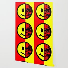 Smiley Face Skull Yellow Red Wallpaper