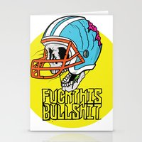 nfl Stationery Cards featuring NFL Skull by Bowman Illustration