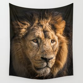Mr. Lion King - Close up lion portrait Wall Tapestry