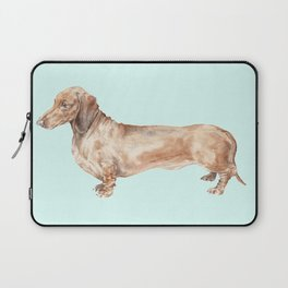 A long dog: Dachshund doxie puppy dog watercolor pet portrait Laptop Sleeve