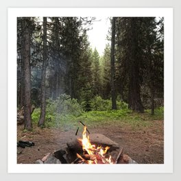 Backpacking Camp Fire Art Print