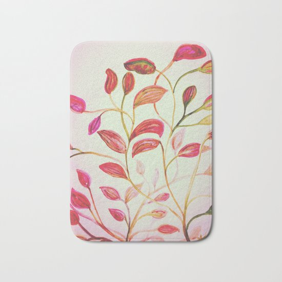 Red and Green Leaves! On Pink! Spring Bath Mat