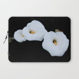Three Calla Lilies Isolated On A Black Background Laptop Sleeve