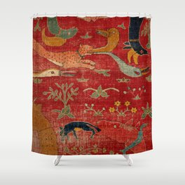 Animal Grotesques Mughal Carpet Fragment Digital Painting Shower Curtain