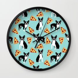 boston terrier pizza dog lover pet gifts cute boston terriers pure breeds Wall Clock