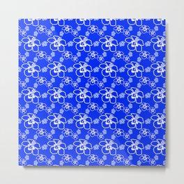 Blue Hibiscus Hawaiian Metal Print