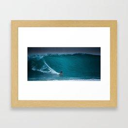 Kelly Slater riding Pipeline Framed Art Print