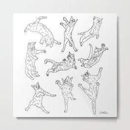 9 Flying Cats Metal Print