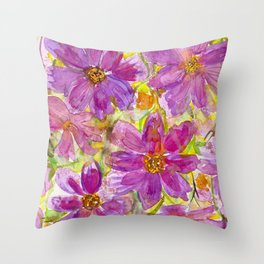 Watercolor Wildflowers Throw Pillow