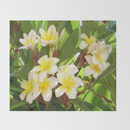 White and Yellow Frangipani Flowers with Leaves in Background  Throw Blanket