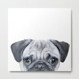 pug Dog illustration original painting print Metal Print