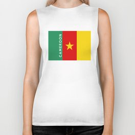 Cameroon country flag name text Biker Tank