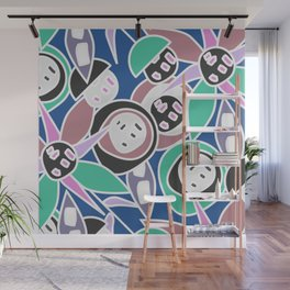 Abstract funky petals in blue Wall Mural