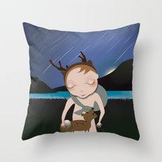 Deery Fairy Meteor Shower with baby deer Throw Pillow