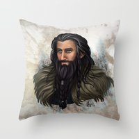 thorin Throw Pillows featuring Thorin Oakenshield by KuroCyou