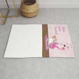 Flamingo Enjoying the Bath Rug