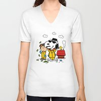 peanuts V-neck T-shirts featuring Breaking Peanuts by Maioriz Home