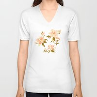 magnolia V-neck T-shirts featuring Magnolia Pattern by Teagan White