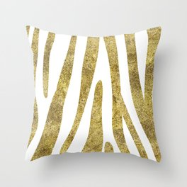 Golden exotics - Zebra and crisp white Throw Pillow