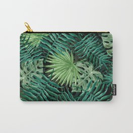Large Green Fern Palm and Monstera Tropical Plants Carry-All Pouch