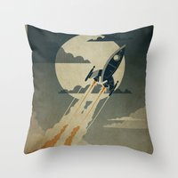 human Throw Pillows featuring Night Launch by Danny Haas