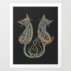 Technicolour Kitties Art Print