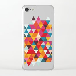 Vintage Summer Color Palette - Hipster Geometric Triangle Pattern Clear iPhone Case