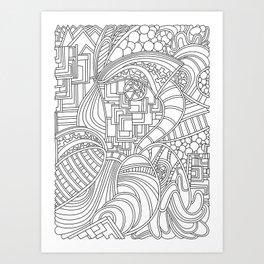 Wandering 48: black & white line art Art Print